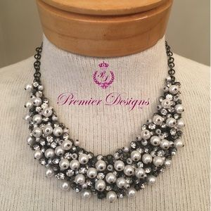 Premier Designs Enamored Rhinestone Pearl Necklace